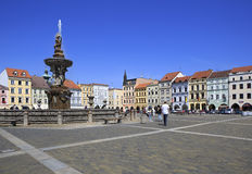 Fountain on the square in historic center of Ceske Stock Image