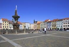 Fountain on the square in historic center of Ceske Stock Image