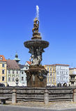 Fountain on the square in historic center of Ceske Royalty Free Stock Image