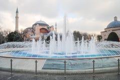 Fountain on the square near. The Meseta Aya Sofia royalty free stock images