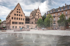 Fountain in the square Place du Château near the Cathedrale Notre Dame de Strasbourg Royalty Free Stock Images
