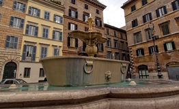 Fountain in the square of Rome Royalty Free Stock Photography