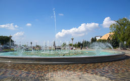 Fountain in the square soldiers in Stavropol, Russia Stock Images