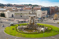 Fountain of square of Spain, Barcelona Stock Photos