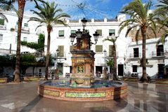 Fountain in square, Vejer de la Frontera. Royalty Free Stock Images