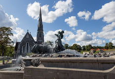 Fountain and St Alban's Church Stock Image