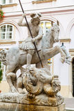 Fountain of St. George and the Dragon in Bratislava Stock Images