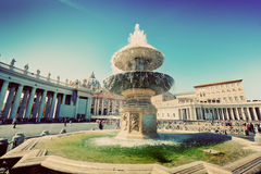 Fountain on St. Peter's square in Vatican City. Vintage Stock Photography