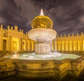 Fountain on St. Peter's square in Vatican Royalty Free Stock Images