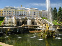 Fountain in St. Petersburg. Peters Palace at Petershof in Russia Royalty Free Stock Photography