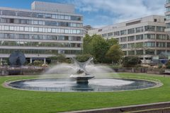 Fountain in St Thomas Hospital Gardens, London, England.  stock images