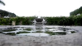 Fountain static shot. Exterior shot of fountain of water stock video footage