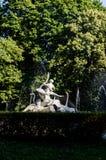 Fountain statue boy with goose Stock Photos