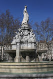 Fountain and statue in Lyon Royalty Free Stock Image