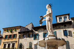 Fountain and Statue of Madonna Royalty Free Stock Image