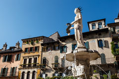 Fountain and Statue of Madonna Royalty Free Stock Photography