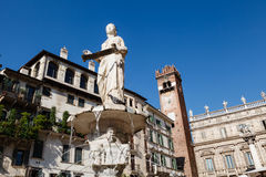 Fountain and Statue of Madonna Stock Photos