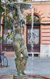 Fountain with statue of naked woman. Buda Castle area, Budapest. Royalty Free Stock Image