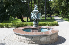 Fountain with a statue Royalty Free Stock Images