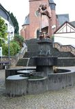 Fountain and statue in Sohren, Germany royalty free stock images