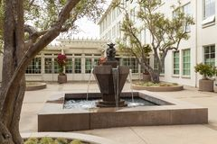 Fountain and statue of Star Wars baby Yoda