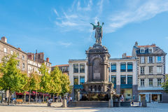 Fountain with statue of Urbain II at Victoire place in Clermont Ferrand. CLERMONT FERRAND,FRANCE - SEPTEMBER 1,2016 - Fountain with statue of Urbain II at Royalty Free Stock Image