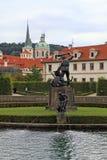 Fountain and statue in Waldstein Garden and Prague Castle, Pragu Stock Photo