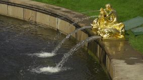 Fountain with statues slow motion. Fountain with statues in Peterhof slow motion stock video footage