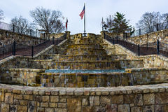 Fountain of steps with flag