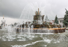 Fountain Stone Flower at VDNH in Moscow on a rainy day Royalty Free Stock Photos