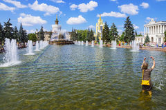 Fountain Stone flower VVC, Moscow, Russia Royalty Free Stock Photos
