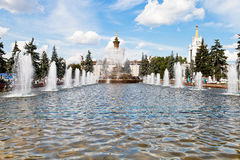 Fountain Stone Flower at VVC in Moscow Stock Photography