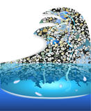 Fountain with a stone mosaic in the shape of wave Stock Image