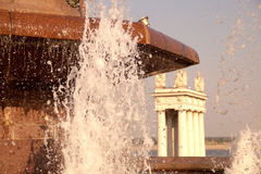 Fountain stream on the Volgograd embankment Stock Photo