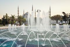 Fountain and The Sultan Ahmed Mosque. In Istanbul during sunset royalty free stock photos