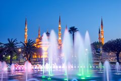 Fountain and The Sultan Ahmed Mosque. In Istanbul during sunset stock photo