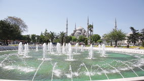 Fountain on Sultan Ahmet square stock video footage