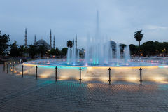 Fountain and the Sultanahmet Blue Mosque Royalty Free Stock Image