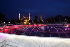 Fountain and the Sultanahmet Blue Mosque at night Royalty Free Stock Photo