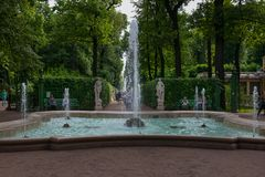 Fountain in the summer park. SAINT PETERSBURG, RUSSIA - AUGUST 18, 2017: Summer garden. This park is one of the oldest in Saint Petersburg, it was designed by Stock Images