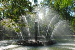 Fountain Sun in the Lower Park in Peterhof stock photography