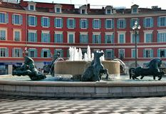 Fountain of the sun at Place Massena in Nice Stock Photos