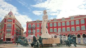 Fountain of the sun at Place Massena in Nice stock photography