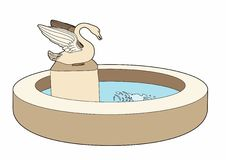 Fountain with the swan. Vector illustration of an architectural element Stock Illustration