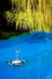 Fountain in swimming pool. Fountain fitting in blue swimming pool with green leaves of tree hanging overhead Stock Photography