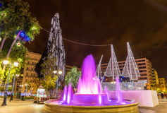 Fountain on Syntagma square in Athens on New Year Royalty Free Stock Images