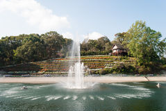 Fountain system in garden Royalty Free Stock Photography