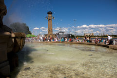 Fountain in Szczecin harbour. SZCZECIN, POLAND - JUNE 15, 2014: Sail Szczecin 2014.The tall masts of sailing ships fill the harbour for a wonderful three day Royalty Free Stock Photography