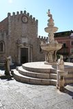Fountain in Taormina main square Royalty Free Stock Photography