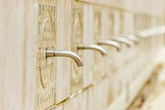 Fountain taps. Old fountain taps without water Royalty Free Stock Image